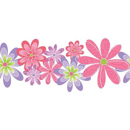 Blue Mountain Flower Power Wallpaper Border, Pink/Purple/Green, Multicolor