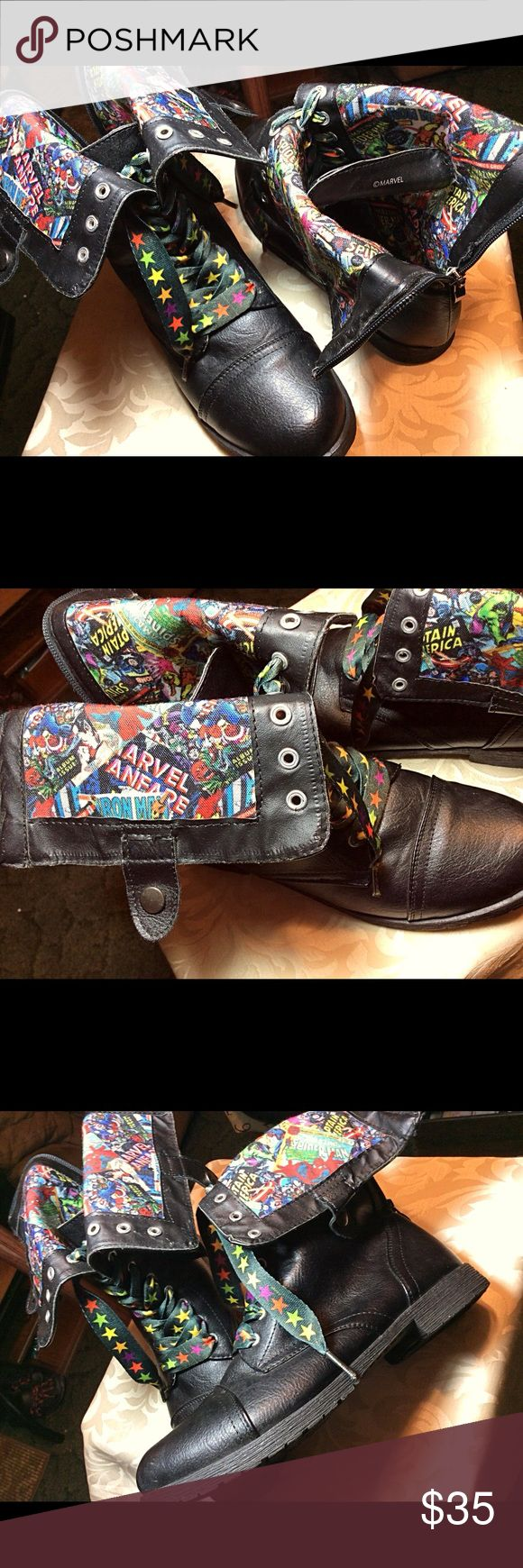 LIKE NEW!  Marvel Comics Snap-Down Zip-Back Boots Marvel Comics Heroes  Snap-Down,  Zip-Back,  Black Combat Boots.  Man Made Materials.  Cartoon Cloth Interiors.  Wide Star Laces.  Worn once and in like new excellent condition.  (See matching Skater Skirt listing) Marvel Shoes Lace Up Boots