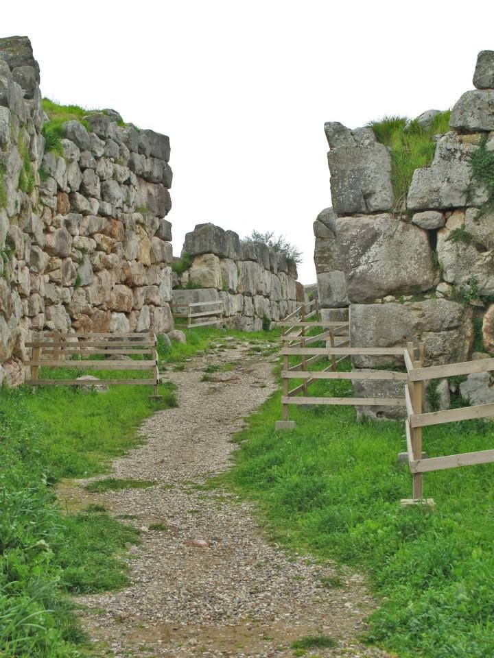 The way (47 m long by 4.7 m wide) leading to the Great Gate of the Ancient Tiryns Mycenaean Citadel (16th c. BC)