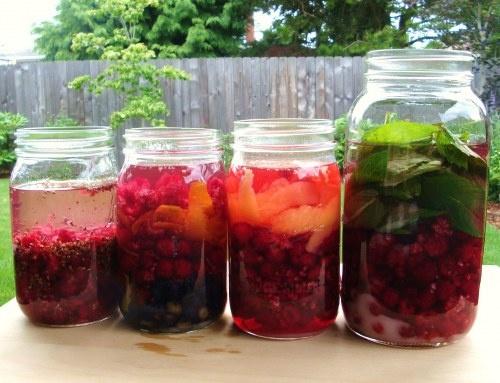 Boozed & Infused - Simple Raspberry Liqueur + 4 Heavenly Infusions: 1) Raspberry-Mint Gin, 2) Raspberry-Lemon Vodka, 3) ROB Rum (Raspberry-Orange-Blueberry), & 4) Chocolate-Raspberry Liqueur