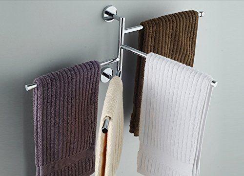 Ioven Handtuchhalter,Edelstahl glänzend - 4 bewegliche: Amazon.de: Baumarkt