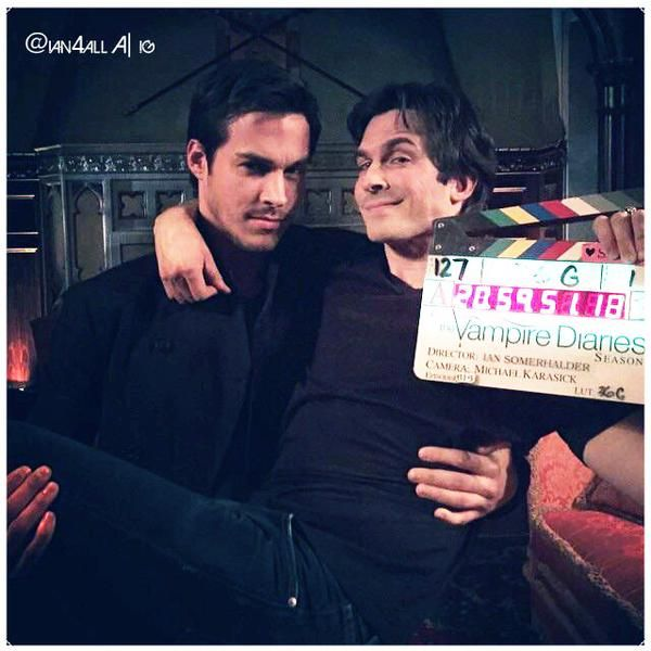 """The Vampire Diaries"" - Chris Wood (Kai) and Ian Somerhalder (Damon)"