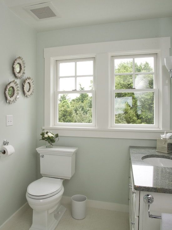Perfect simple shaker style window trim wainscoting and for Bathroom decor light green