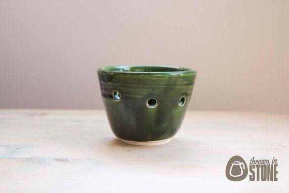 ON SALE - Green tea light holder - Bottle Green - Candle Holder by ThrownInStone