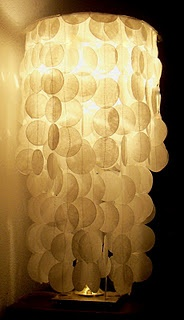 DIY faux capiz shell lamp made with wax paper circles