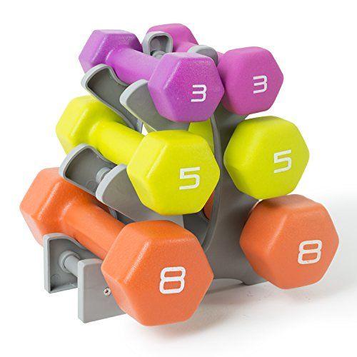 Tone Fitness Neoprene Dumbbell Set with Rack, 32 lb. - http://fitness-super-market.com/?product=tone-fitness-neoprene-dumbbell-set-with-rack-32-lb