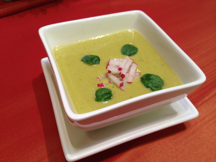 Thai Avocado Soup - with cucumber & coconut milk. Garnished with basil ...