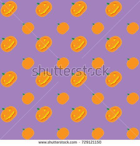 Halloween - Jack O' Lantern Vector Pattern - Light Purple Background (Fully Editable)