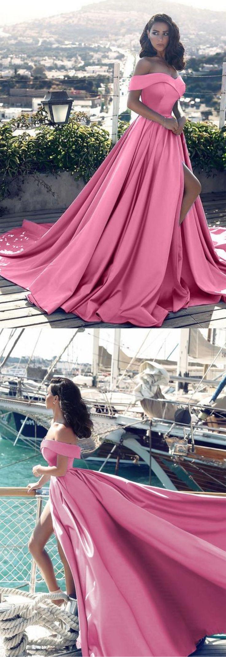 Stylish pink satin strapless long slit off shoulder evening dresses