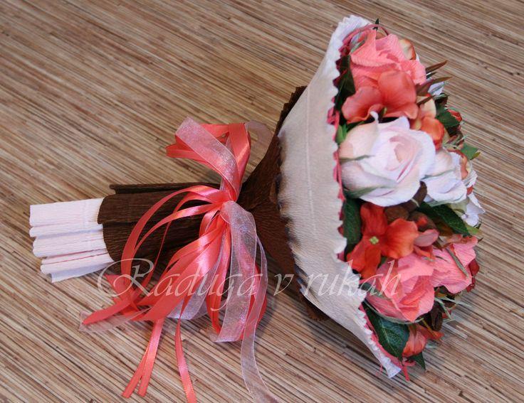 """Букет """"Персиковая осень"""" В составе конфеты Осенний вальс 11 шт., Миндаль в шоколаде 8шт. Дарите конфеты красиво!"""