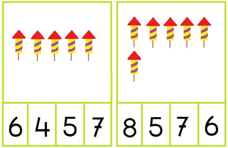 knijpkaarten vuurwerk: tel het aantal vuurpijlen en knijp de knijper bij het juiste cijfer