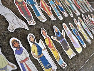 Printbladen met bijbelse figuren. Wel met de Engelse namen erop. Printable BIble People