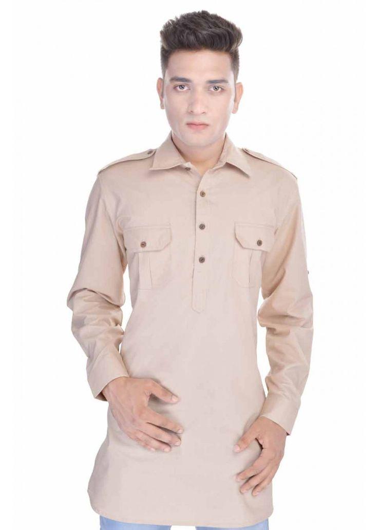 Kalrav Fashion Beige Pathani Cotton Kurta