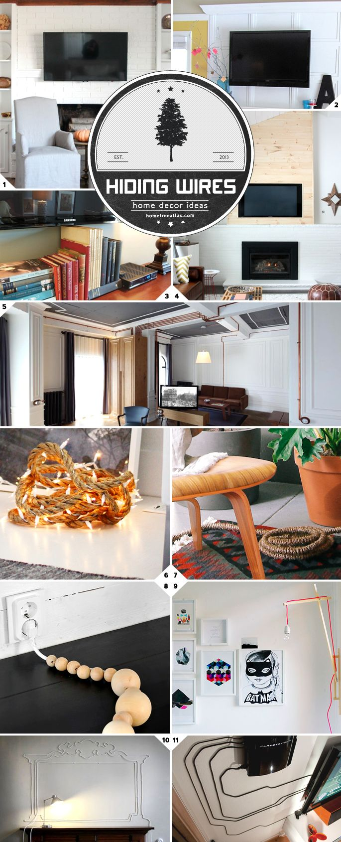 Creative Ideas: How To Hide Cords and Wires. || Simple and heavy duty ideas for hiding your TV wires, lamp cords, and wires on the wall or on the floor. There are also some ideas on how to embrace and turn wires into decor pieces (ie. use copper pipes)