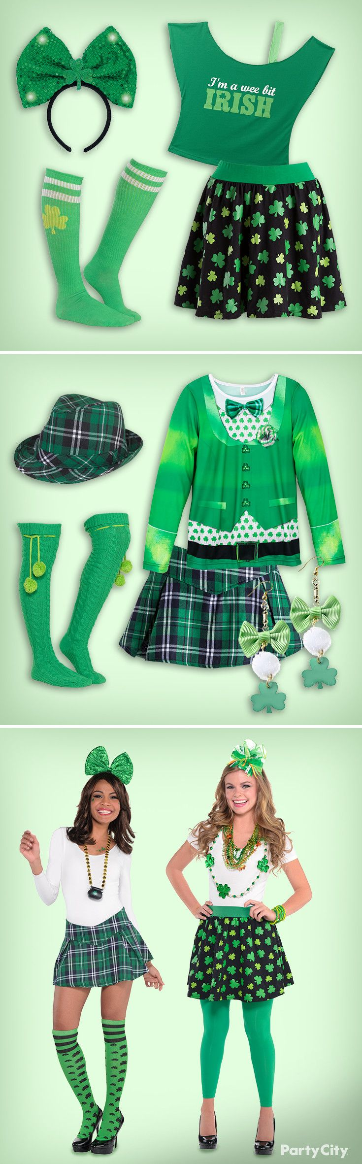 Party City is serious about getting green. Sham-rock the party in festive green looks, from bowties to beads, party hats to plaid. Visit our party ideas page for more St. Patty's Day outfit ideas.