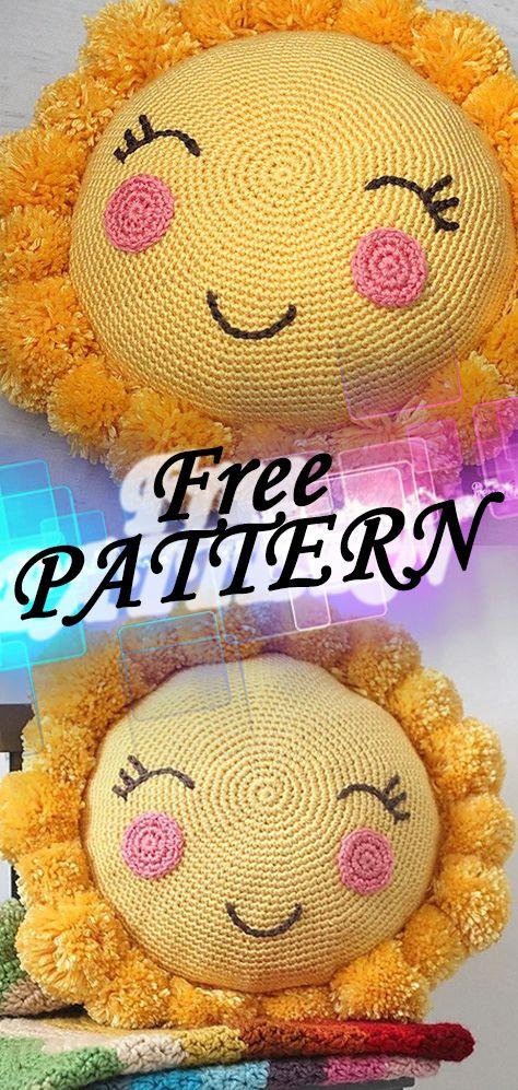 82a6481522e70 PomPom Sunshine Pillow Crochet Patterns Ideas Free Free crochet pattern  crochetideasfree.com ...