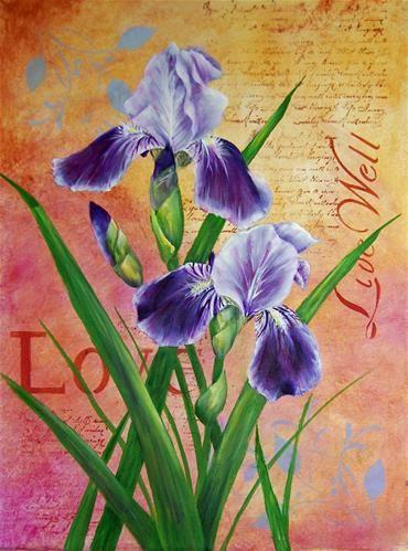 "Daily Paintworks - ""Altered Iris"" - Original Fine Art for Sale - © Maureen Baker"