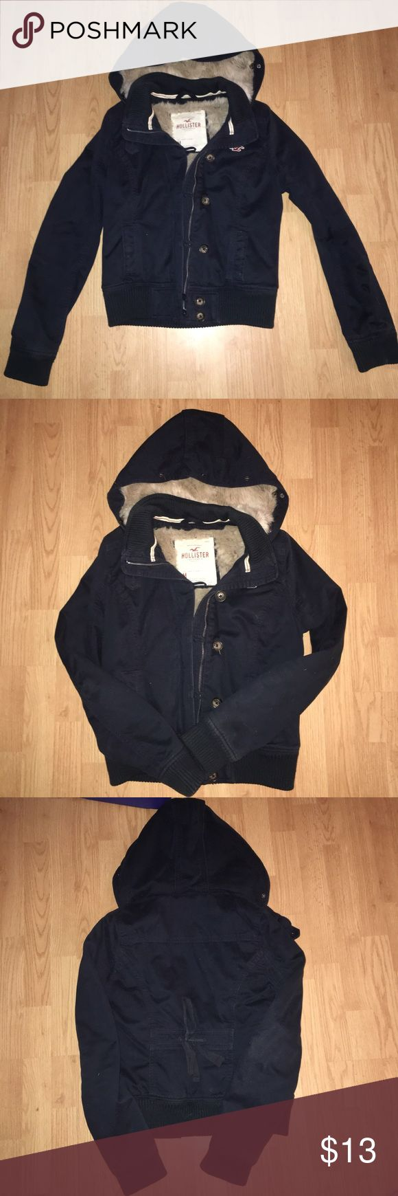 Hollister coat This is a really nice quality coat from Hollister but the zipper is broken. It does have buttons though and is warm. Hollister Jackets & Coats