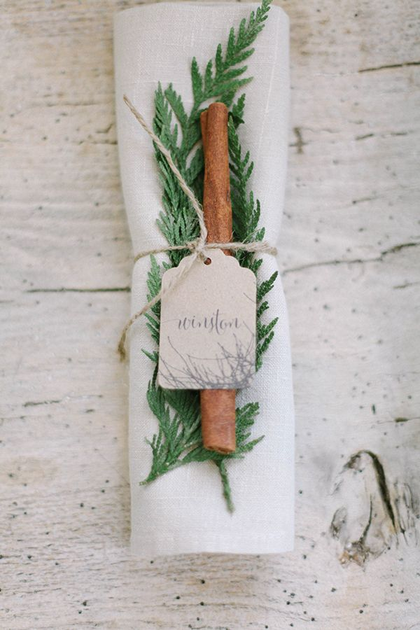 Fir and Cinnamon Stick Place Settings with Calligraphy Tags | Jacque Lynn Photography and Michelle Leo Events | Enchanting Woodland Wedding Shoot with Rustic Winter Details
