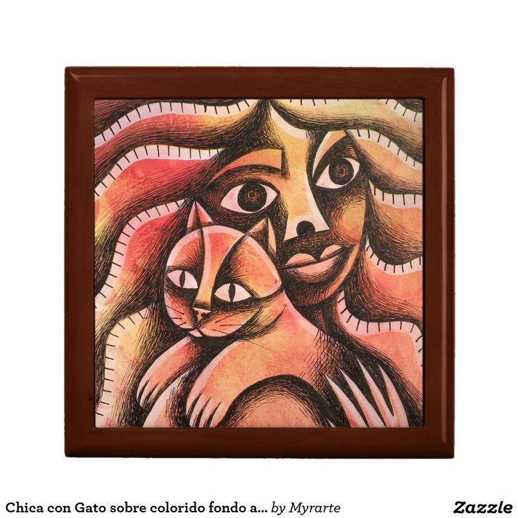 Chica con Gato sobre colorido fondo abstracto. Gato, cat, kitten. Joyero, Jewelry Box. Producto disponible en tienda Zazzle. Product available in Zazzle store. Regalos, Gifts. #Joyero #Jewelry #box #gato #cat #kitten