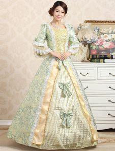 Victoriana bola vestido Jacquard Floral verde la colmena real traje Retro de la mujer arcos traje Vintage princesa en niveles