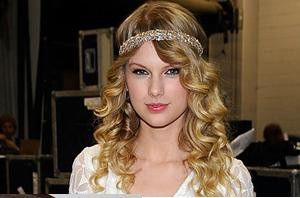 Romantic look for long curly blonde hair. Headband.