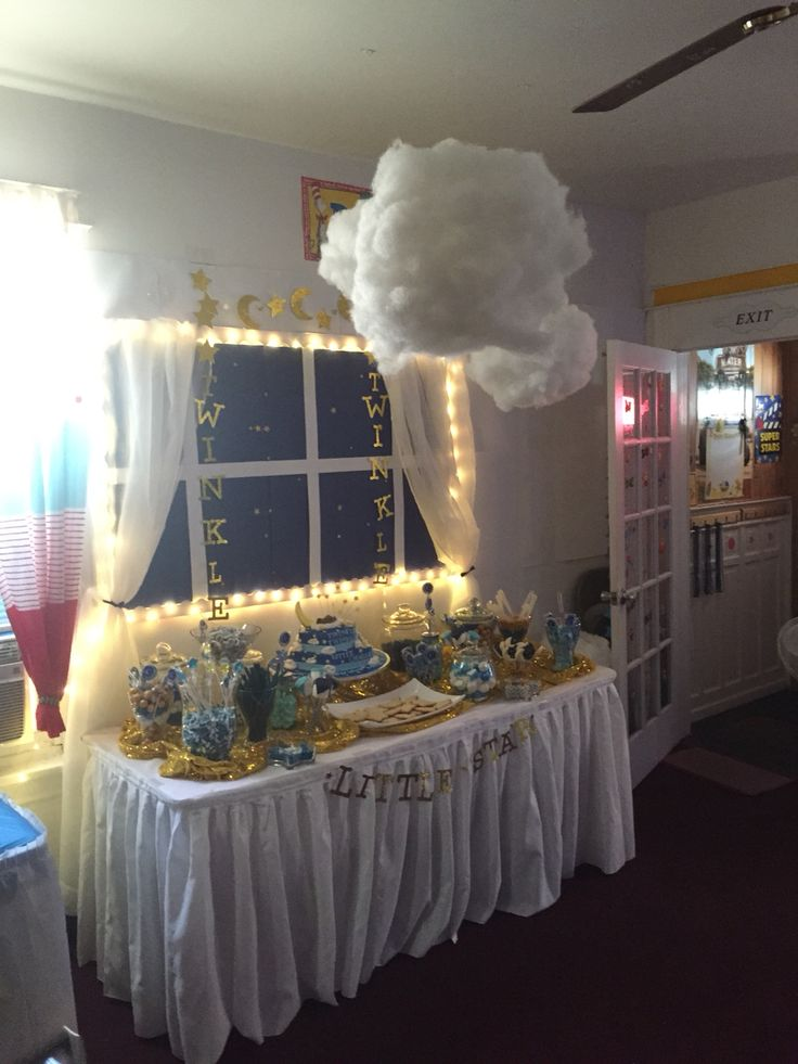 Twinkle twinkle little star baby shower candy table with ...