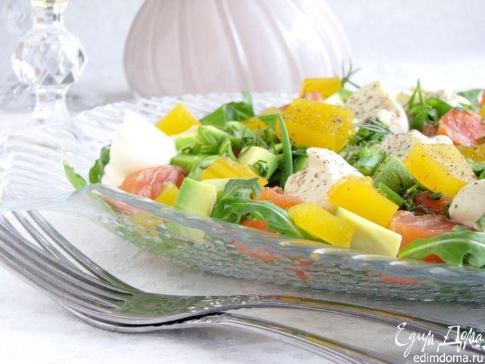 Салат с форелью и апельсиновым желе. Интересное сочетание форели, авокадо и апельсинового желе с необычным соусом. #edimdoma #cookery #recipe #supper #salad #trout