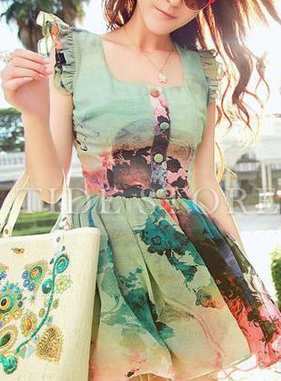 Fresh Korwan Style Floral Imprint Short Sleeve Dress: tidestore.com