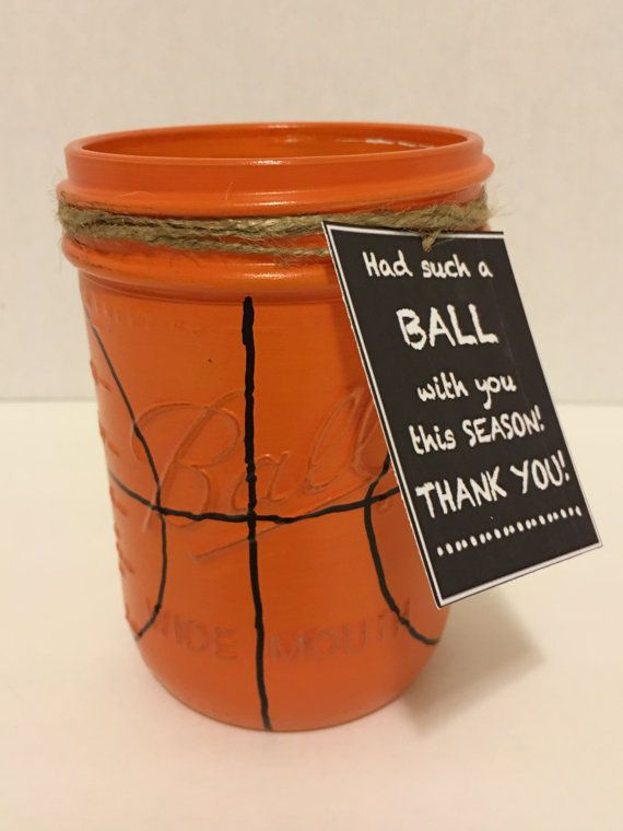 Basketball Mason Jar Basketball Coach Gift by MonisMasonCreations