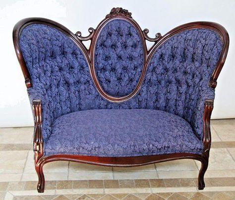 Rare Antique Victorian Sofa Blue Upholstery Loveseat Settee