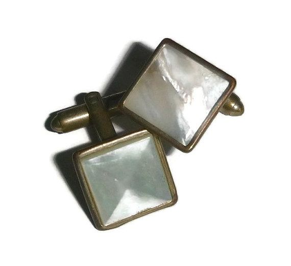 50's Mother of Pearl Cuff Links Square Cut by PopcornVintageByTann