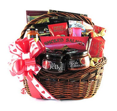 """With """"The Romantic"""" Valentine's Day Gift Basket, the taste buds of that special someone will be pampered with delicious love all day long.#ilovetoshop"""