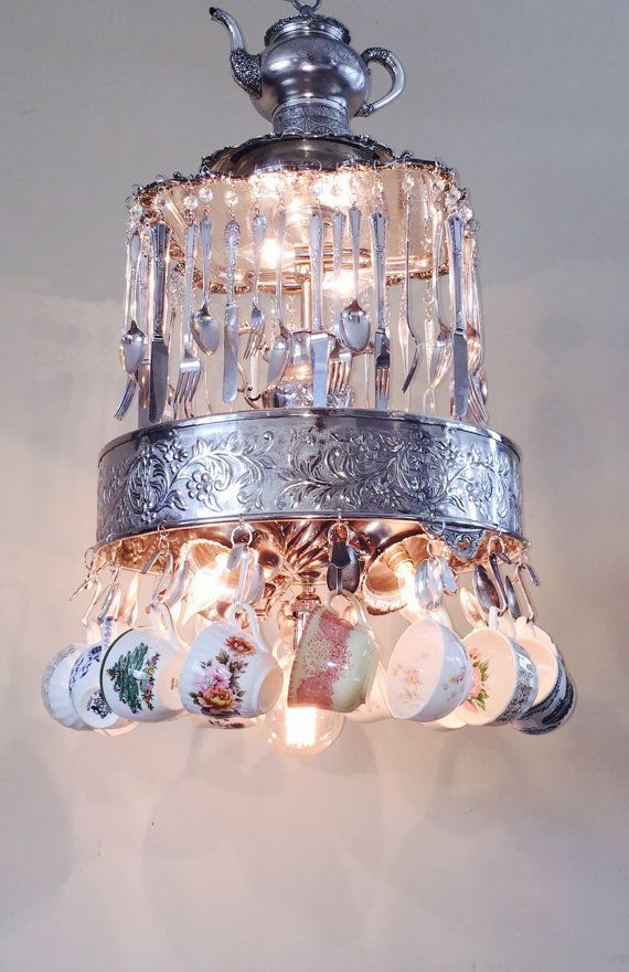 Chandelier Repurposed Vintage Silverware Tea Set by LitforaQueen Custom Made to Order with clients' own silver pieces!