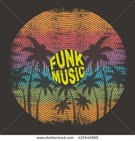 Vector illustration on a musical party in the style of funk music. Stylization of a vinyl record. Grunge background. Typography, t-shirt graphics, poster, banner, flyer, postcard