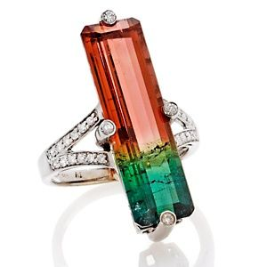 Rarities: Fine Jewelry with Carol Brodie 11.75ct Tourmaline and Diamond 14K White Gold Ring at HSN.com.