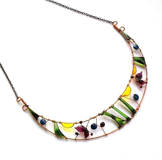 Coloful Spring Necklace- Spring Landscape Copper Wire Wprapped and Resin Necklace
