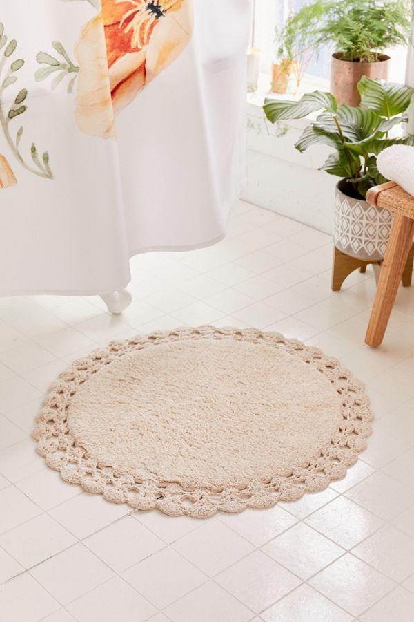 Round Crochet Trim Bath Mat Round Bath Mats Round Bath Rug Crochet Trim