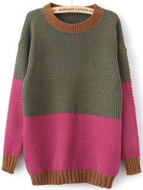 Rose Red Long Sleeve Vintage Loose Sweater - Sheinside.com