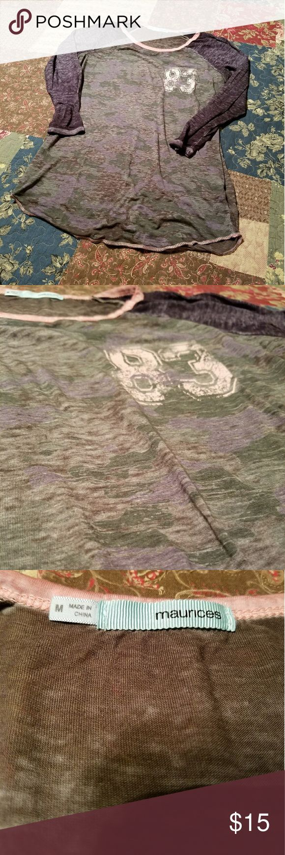 Maurices camo burnout 3/4 sleeve tee sz M Maurices camo burnout 3/4 sleeve tee sz M Maurices Tops