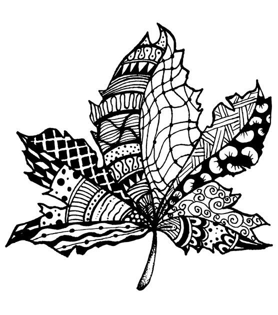 Magenta Zentangle Leaf Rubber Cling Stamps