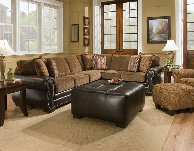 Corinthian Traditional Brown Tan Sectional Sofa W Nailhead Accents