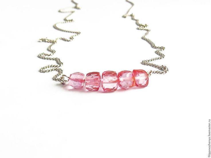 Купить Серебряное мини колье с розовым топазом - розовый, розовый топаз, мини колье