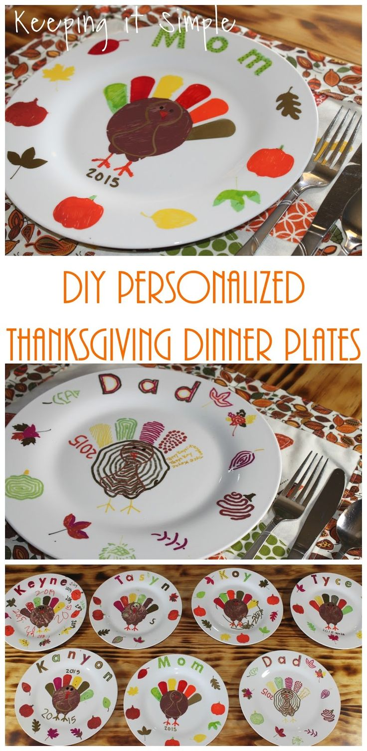 Thanksgiving Family Tradition- DIY personalized Thanksgiving dinner plates for the whole family. This is a great family activity to do together with your kids.