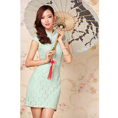 Women's Elegant Beaded Neckline Lace Splicing Cheongsam – GBP £ 38.83
