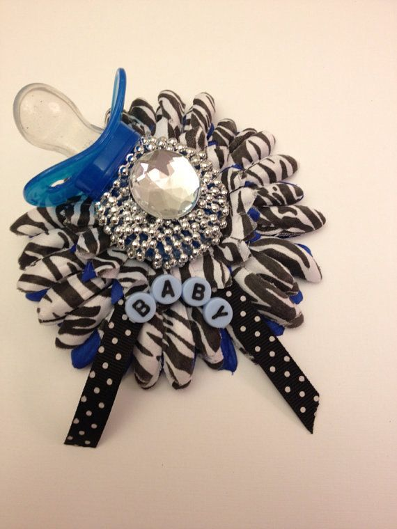Blue and Zebra print Baby Shower Corsage. Its a boy baby shower/banner via Etsy