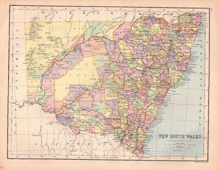 Map of New South Wales Australia Large Bartholomew 1880 Original Antique