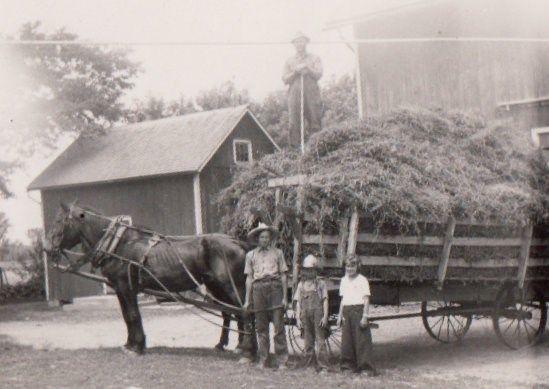Vintage photo farm full hay wagon with horse kids farmer ...