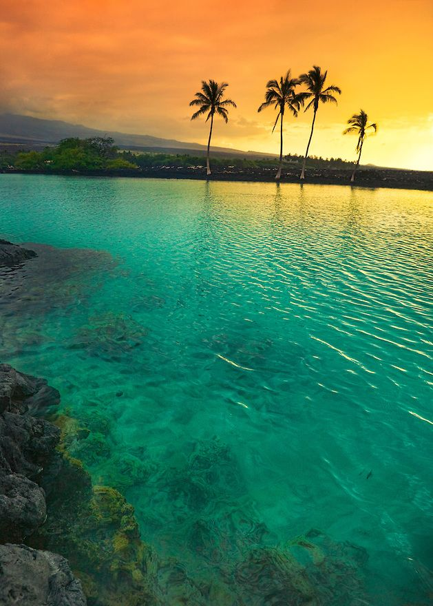 Sunset at Kiholo Bay on the Kohala Coast of the Big Island of Hawaii. The water iridescence in the bay is due to the double layering effect between warm salt water below and fresh cold water on top seeping from the surrounding lava fields.