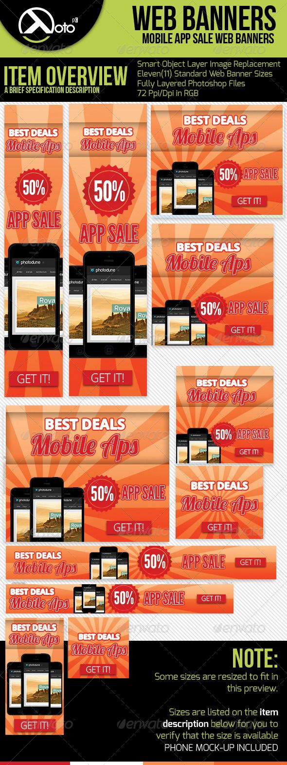 App Sale Web Banners with Phone Mock-up Template PSD | Buy and Download: http://graphicriver.net/item/app-sale-web-banners-with-phone-mockup/6185465?WT.ac=category_thumb&WT.z_author=totopc&ref=ksioks